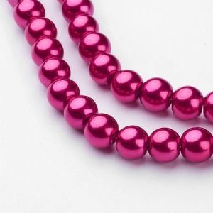 Glass Pearl Beads Medium Violet Red 8mm